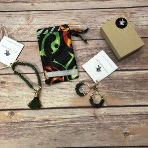 Noonday bracelet and earrings. Forest green NWT